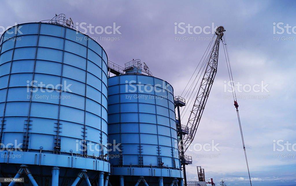 Power plant in Piombino port stock photo