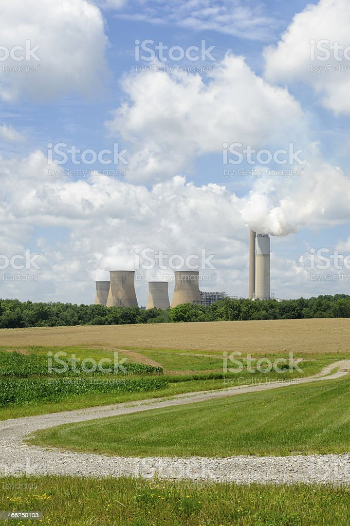 Power Plant in Sunny Summer Country Landscape, Cloudscape royalty-free stock photo