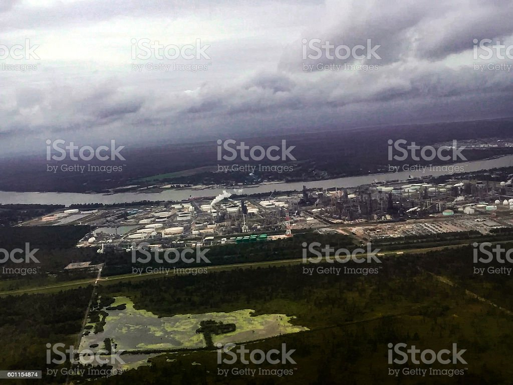 power plant in swamp stock photo