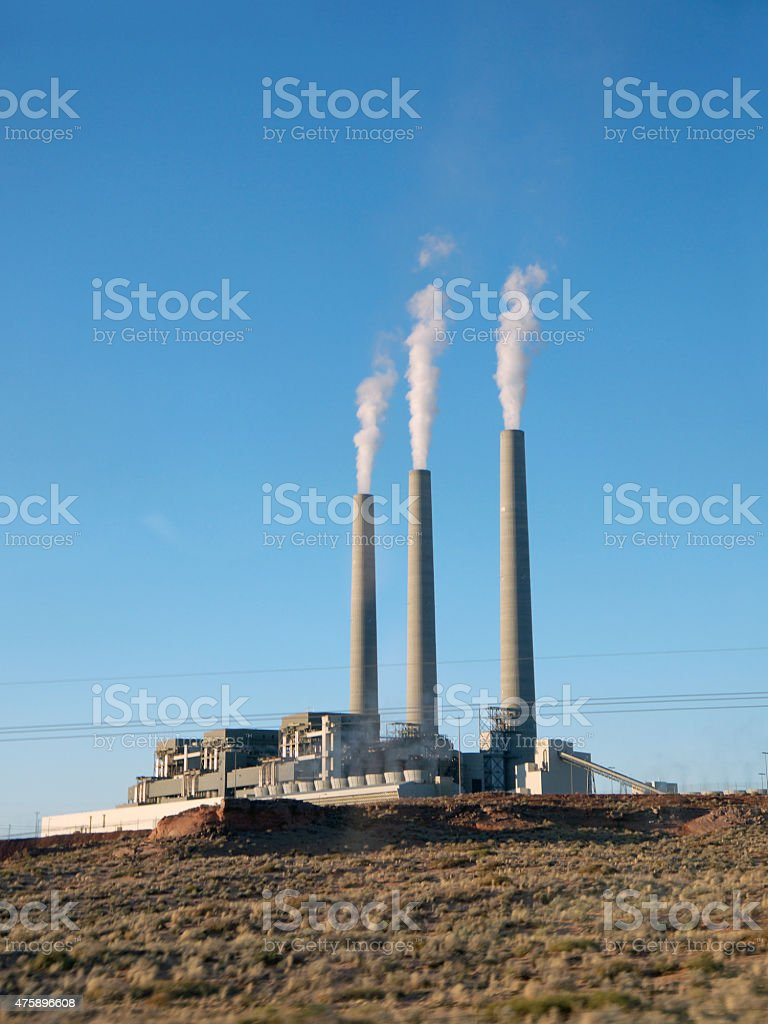 Power plant in the desert stock photo