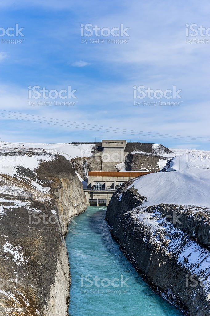 Power plant in the mountains in winter stock photo
