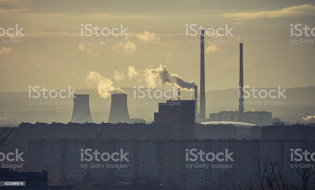 Power plant Leg in Czyzyny district at morning, Krakow, Poland stock photo