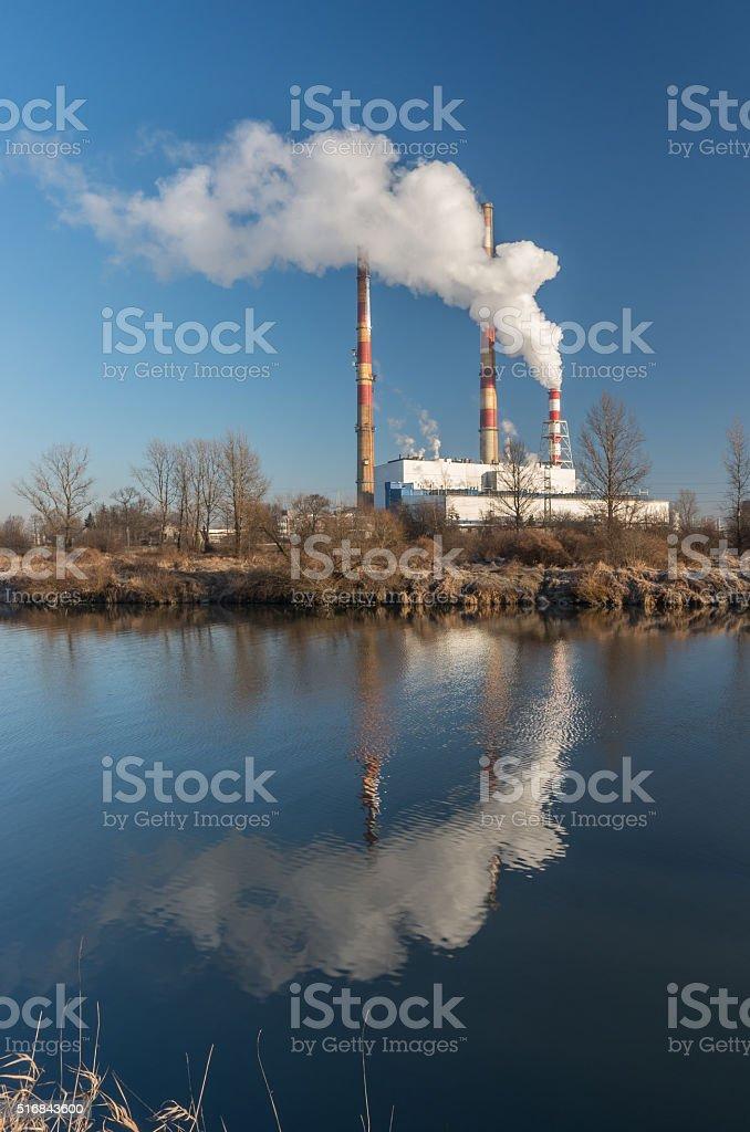 Power plant over Vistula river, Krakow, Poland stock photo