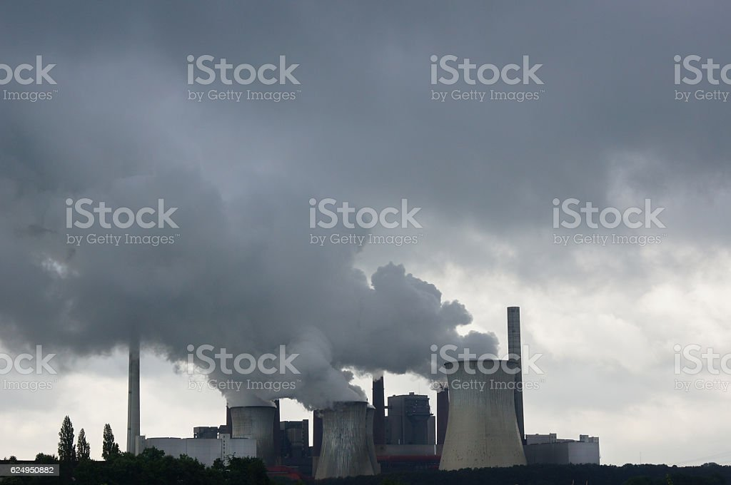 power plant polluting the air stock photo