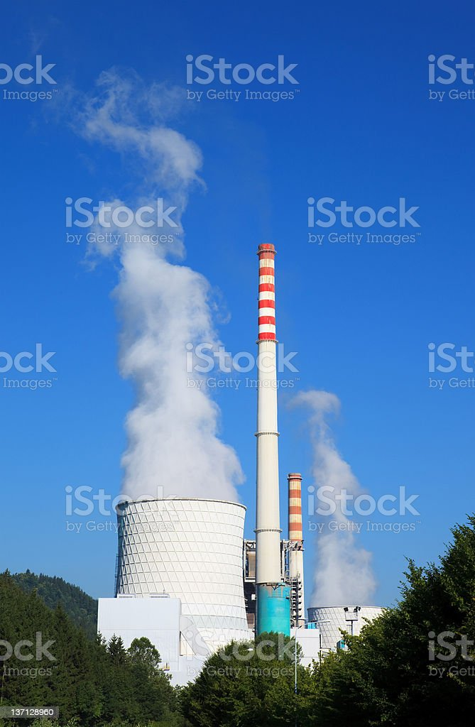 Power Plant Pollution royalty-free stock photo