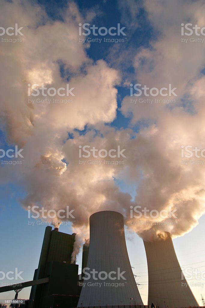 Power Plant Smoking and Steaming stock photo