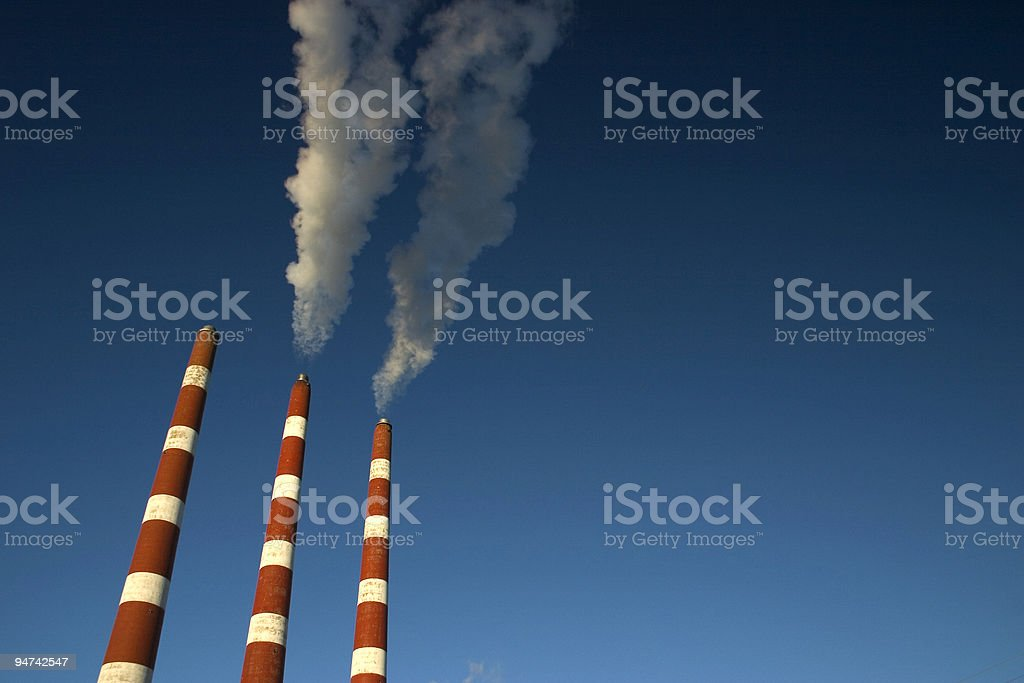 Power Plant Stacks royalty-free stock photo
