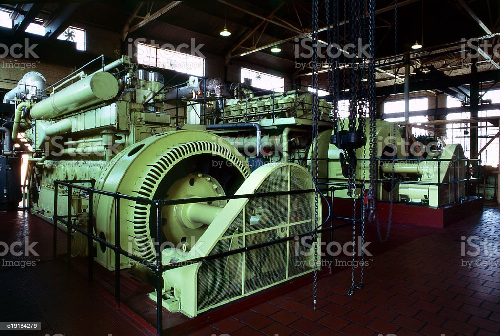 power plant turbines stock photo