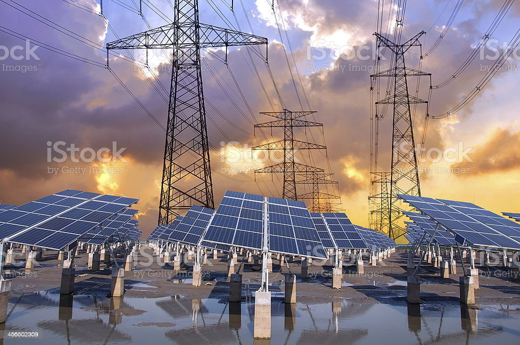 Power plant using renewable solar energy, photovoltaic and High-power stock photo