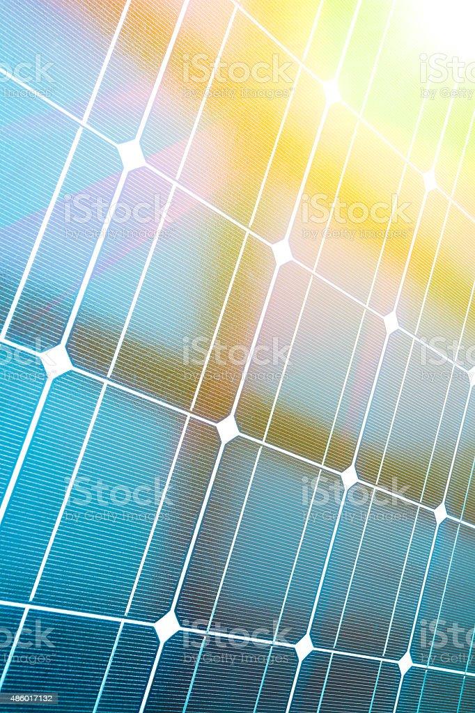 Power plant using renewable solar energy with stock photo