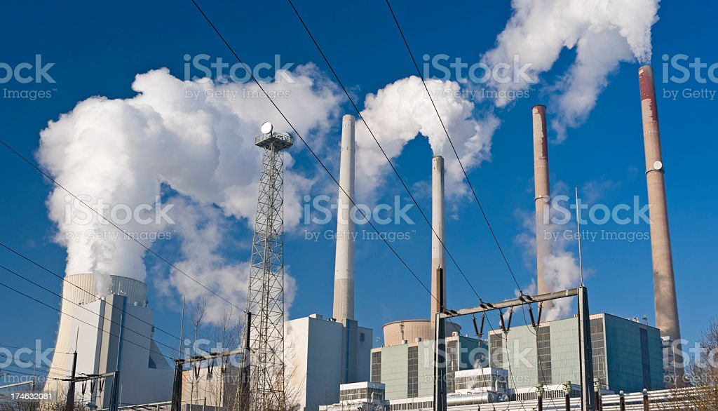 Power plant with blue sky stock photo