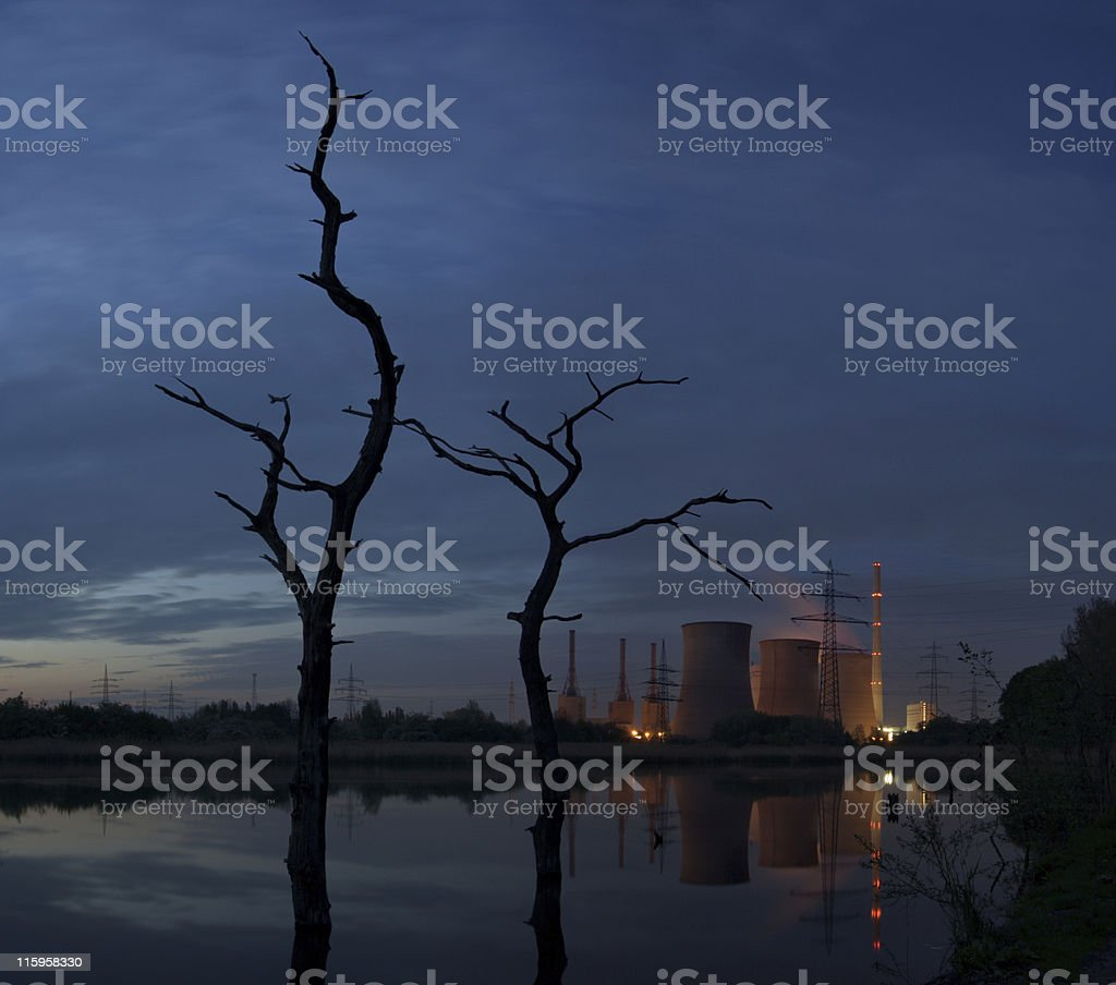 Power Plant With Dead Trees stock photo