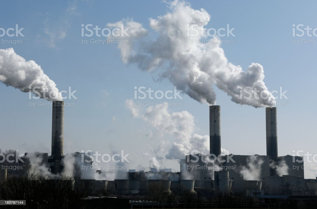 Power plant with pollution royalty-free stock photo