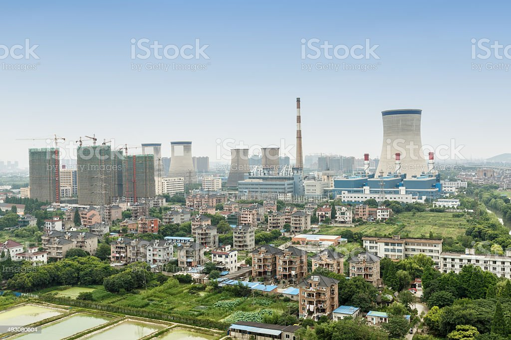 Power plants in residential areas aerial view stock photo