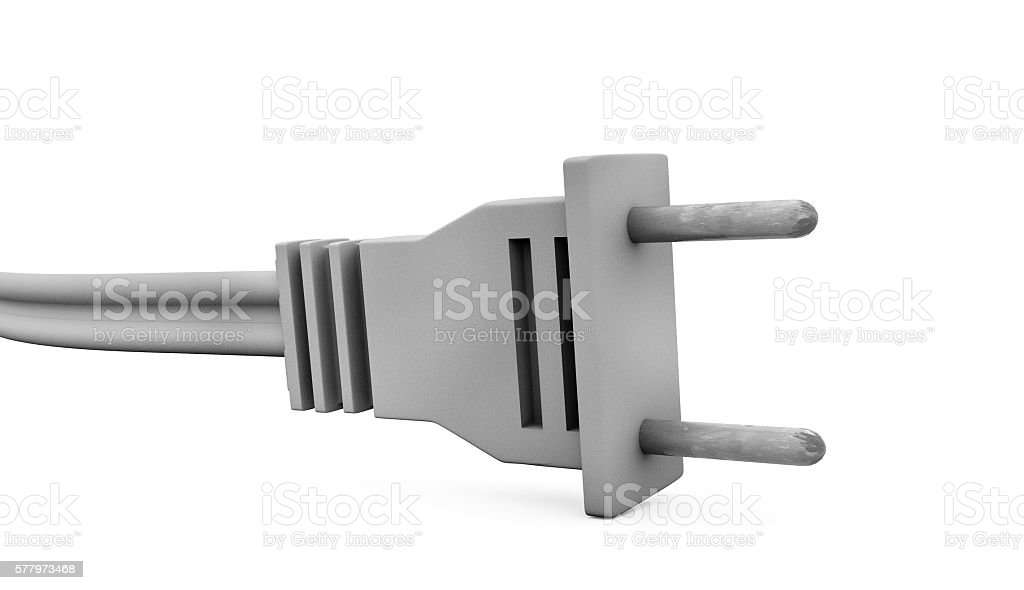 Power plug with grounding and electric cable. 3d illustration stock photo