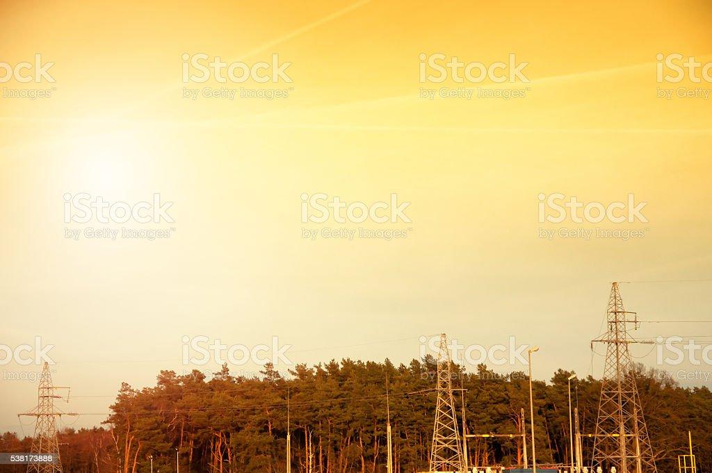 power pole in a blue sky stock photo