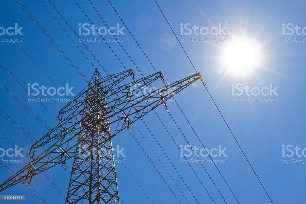 Power pole in the sun stock photo