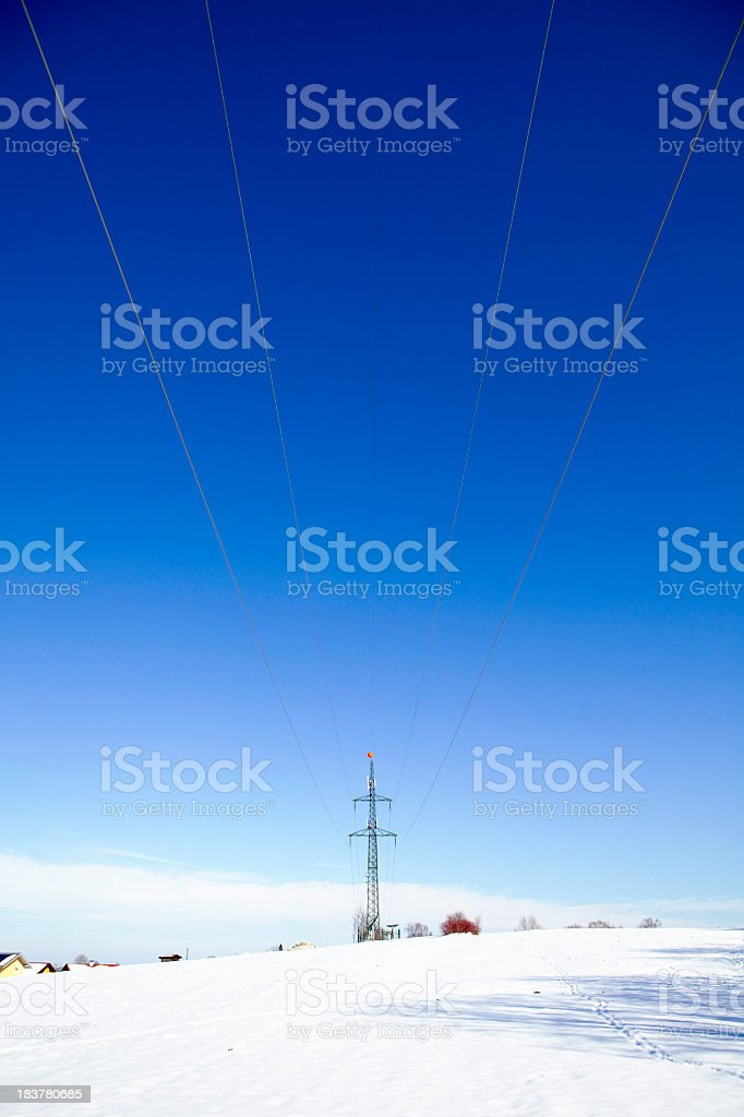 power pole in winter stock photo