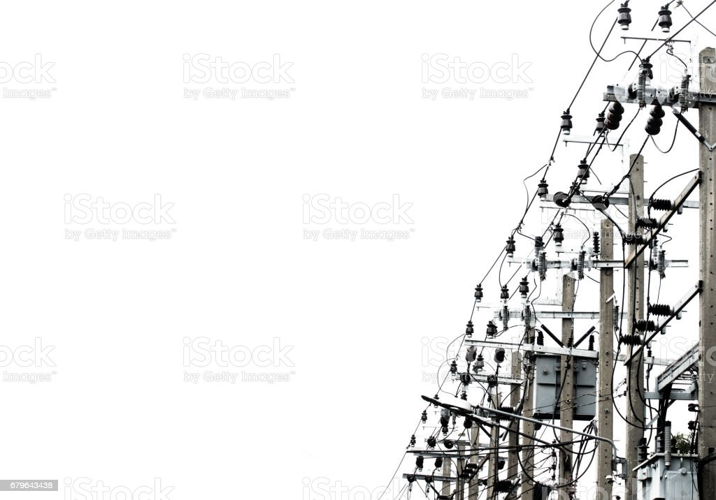 Power pole with Tangle of Electrical wires. stock photo