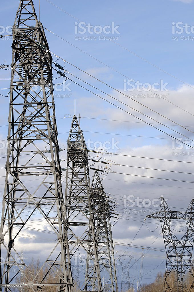 Power poles stock photo