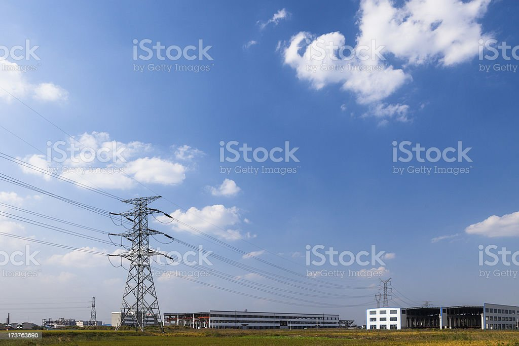 power pylons and substation royalty-free stock photo
