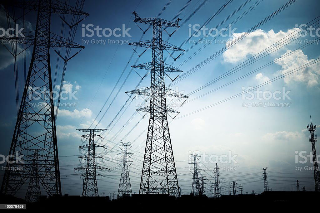 power pylons and substation stock photo