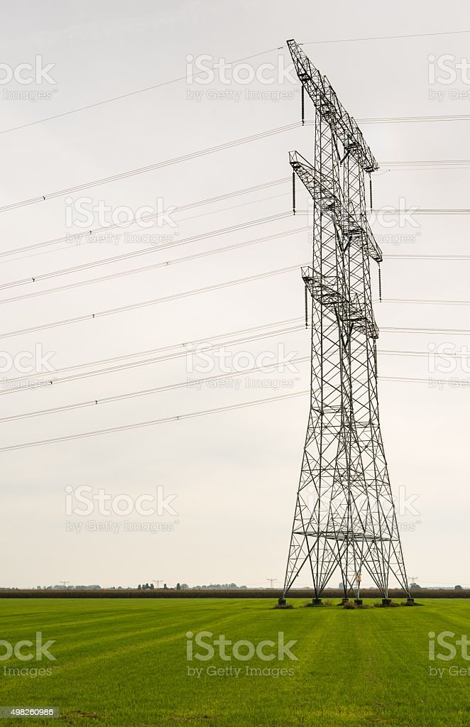 Power pylons in an agricultural area stock photo