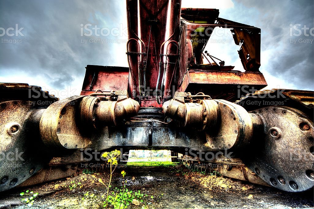 Power shovel and a small nature royalty-free stock photo