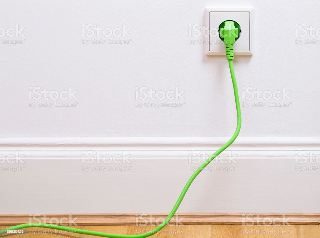 Power socket with plug stock photo