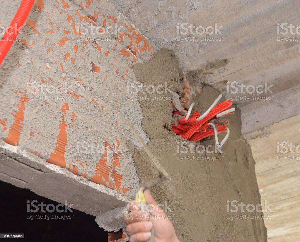 Power sockets on initial stage of construction stock photo