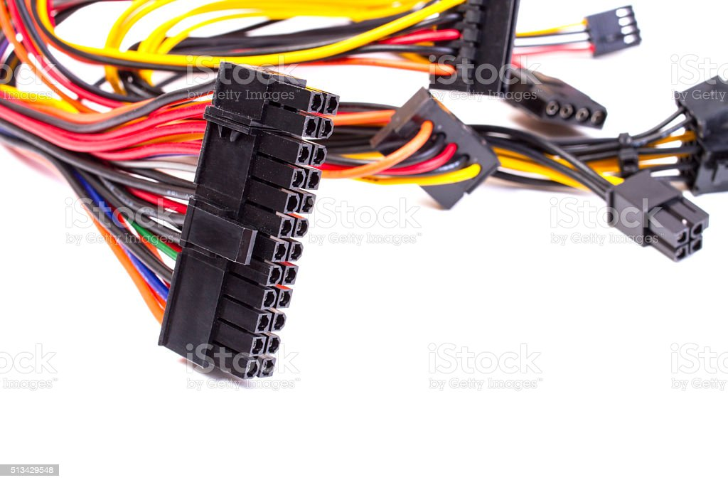 power source wires for computer stock photo
