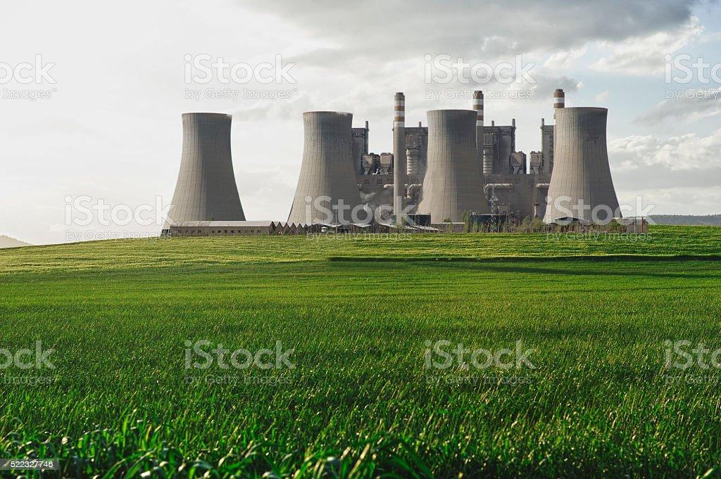 Power Station and Beautiful Nature stock photo
