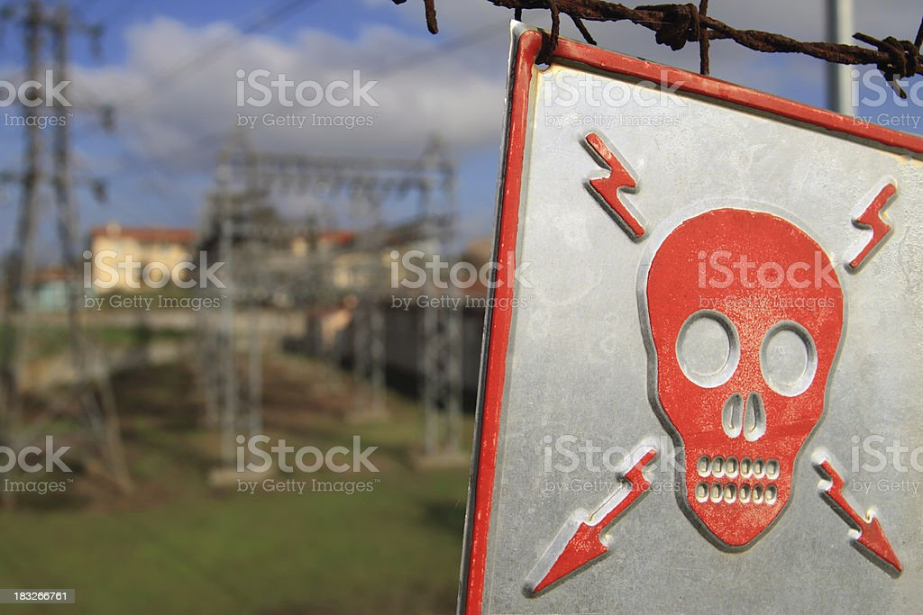Power Station and Death Risk Alert Sign royalty-free stock photo