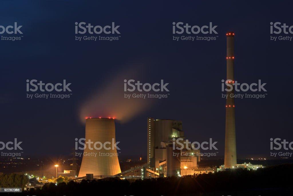 Power Station At Night royalty-free stock photo