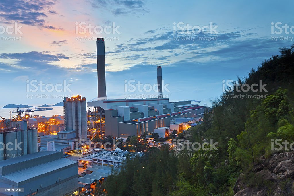 Power station at sunset royalty-free stock photo