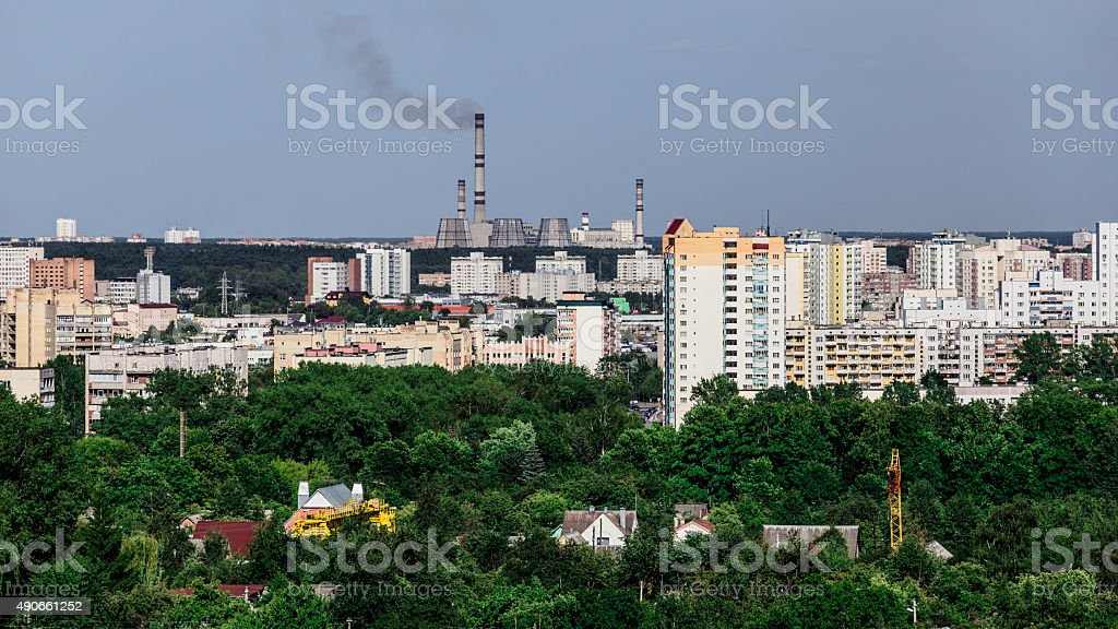 power station at the city outskirts stock photo