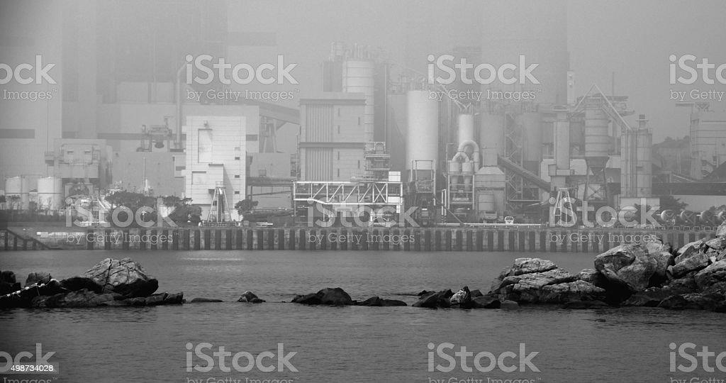 Power Station behind the fog at lamma island, Hong Kong stock photo