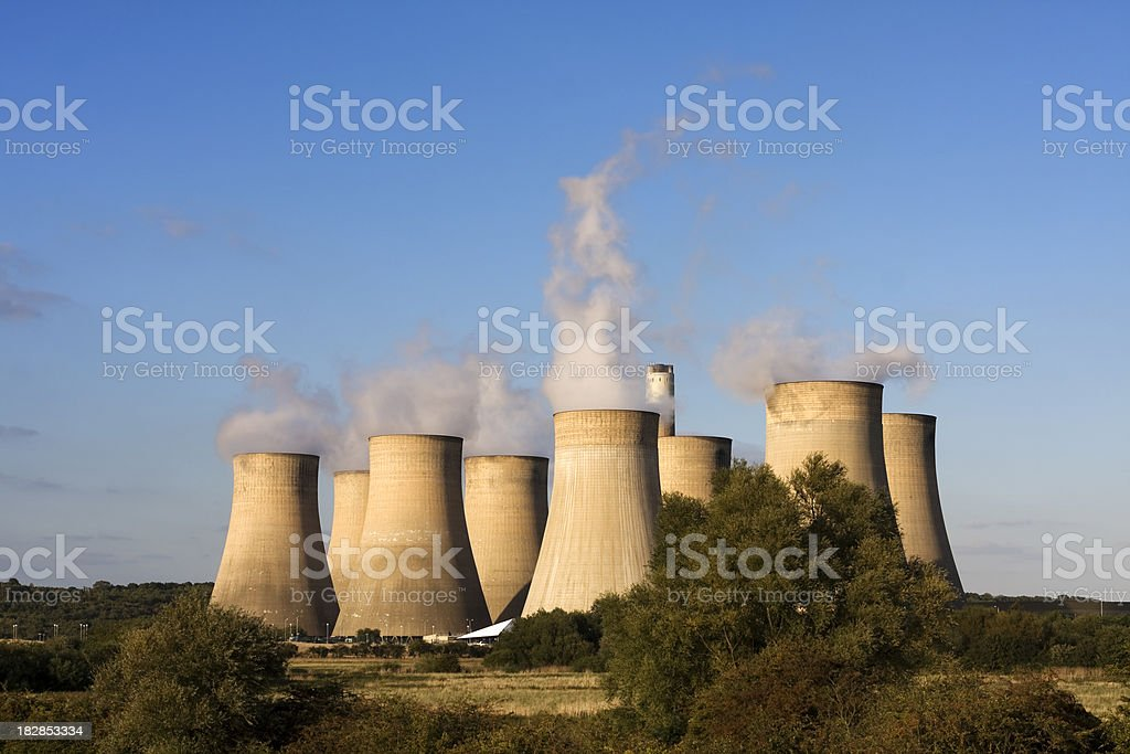 Power Station cooling towers at sunset royalty-free stock photo