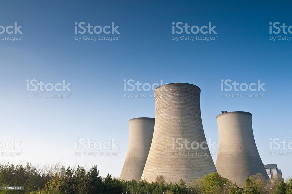 Power station cooling towers blue sky space royalty-free stock photo
