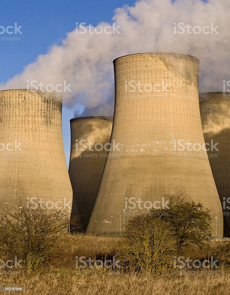 Power Station Cooling Towers royalty-free stock photo