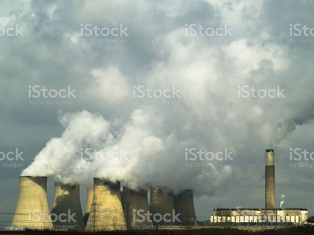 Power station, cooling towers, plume and smoke royalty-free stock photo