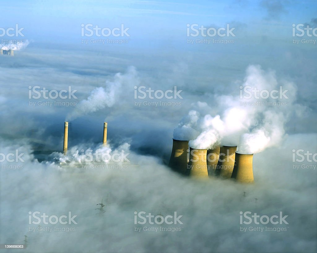 Power station in fog, aerial. stock photo