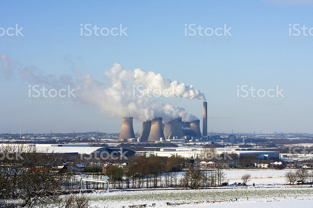 Power Station in winter landscape stock photo