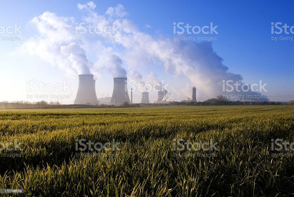 Power Station with Smoke Polution royalty-free stock photo