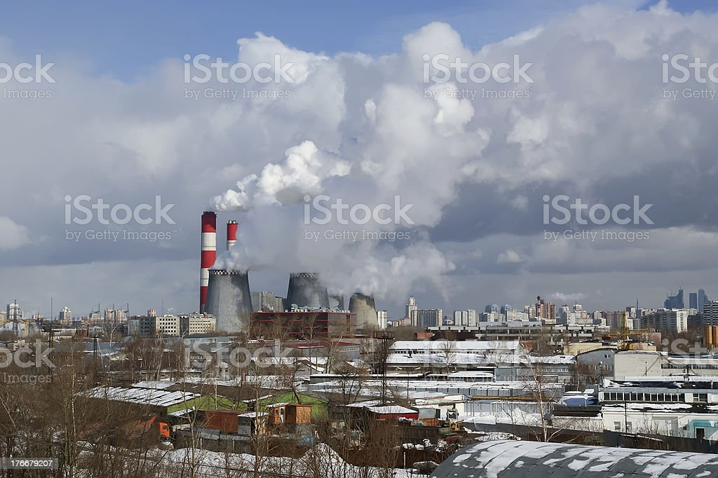 power station workers in the industrial area, Moscow, Russia royalty-free stock photo