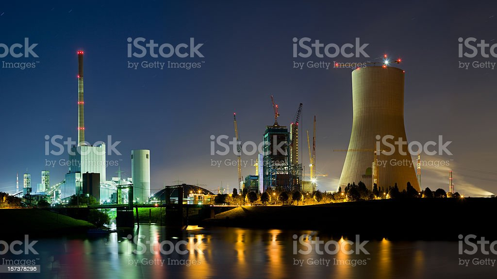 Power Stations At Night royalty-free stock photo