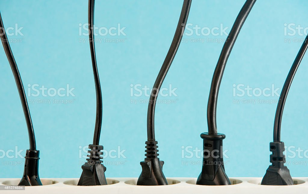 power strip with cables stock photo