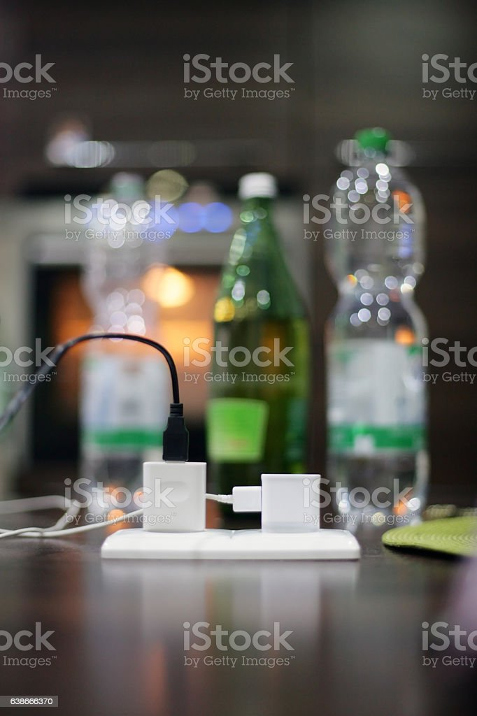 Power strip with two outlets stock photo