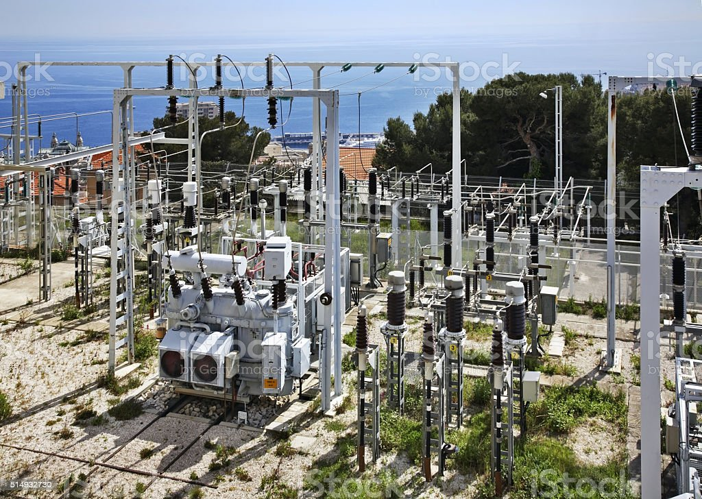 Power substation in Canton de Beausoleil. France stock photo