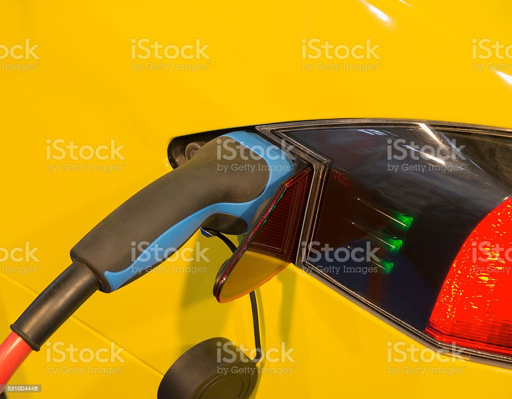 Power supply for electric car charging. stock photo